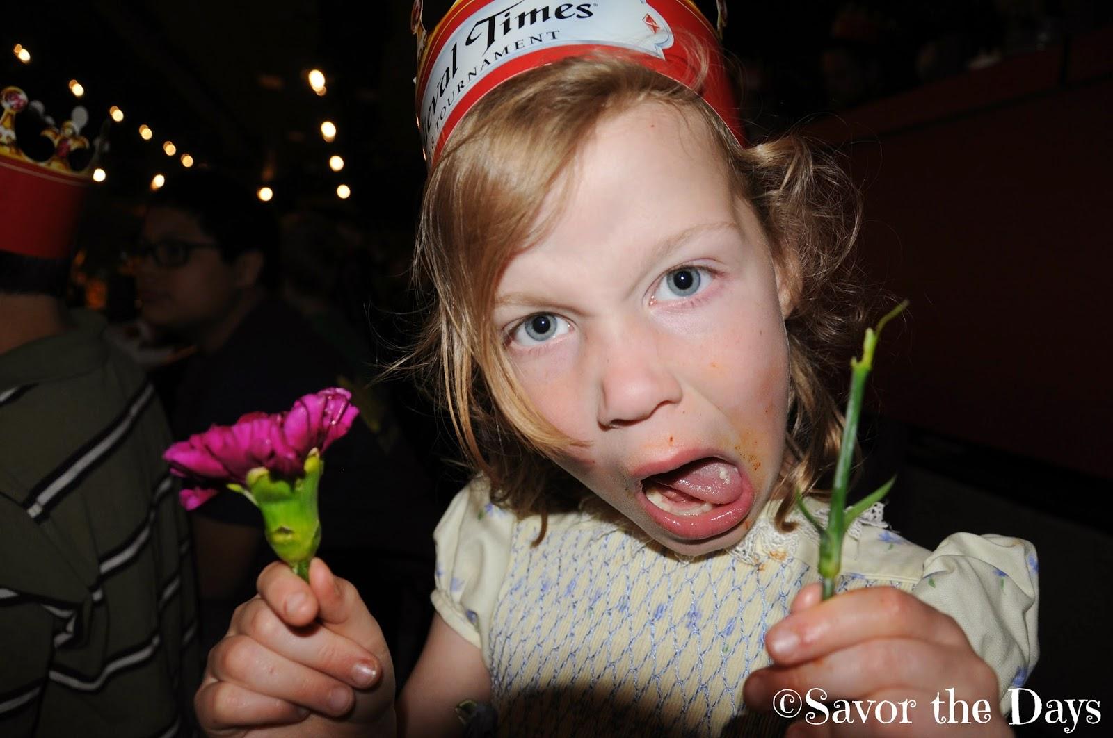 Girl upset over broken flower