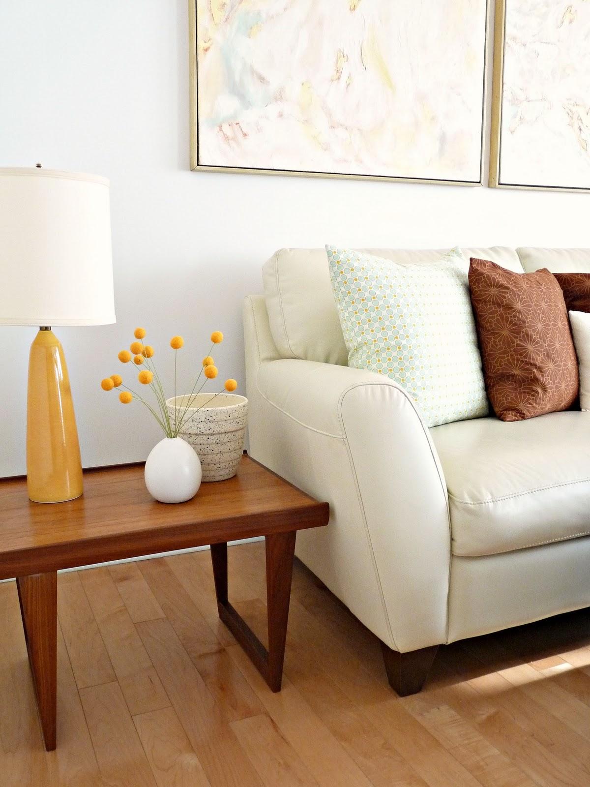 Cream Leather Sofa; Danish Teak Side Tables Part 64