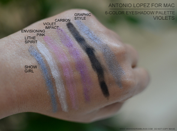 MAC antonio lopez makeup collection 6 color eyeshadow palettes lithe spirit envisioning pink violet impact showgirl graphic style carbon violet swatches photo indian beauty darker skin blog