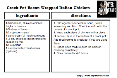 Crock Pot Bacon Wrapped Italian Chicken Recipe