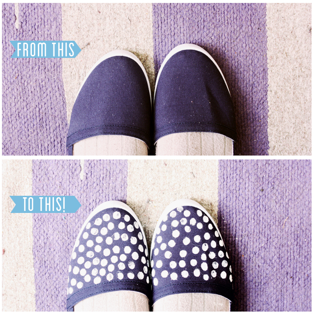 polka dot shoes before and after