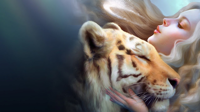 Fantasy Girl With Tiger HD Wallpaper