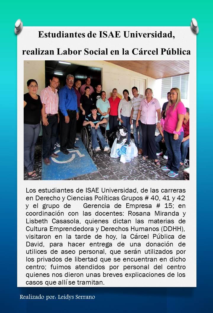 NOTICIAS: Estudiantes de ISAE realizan labor social en Cárcel ...