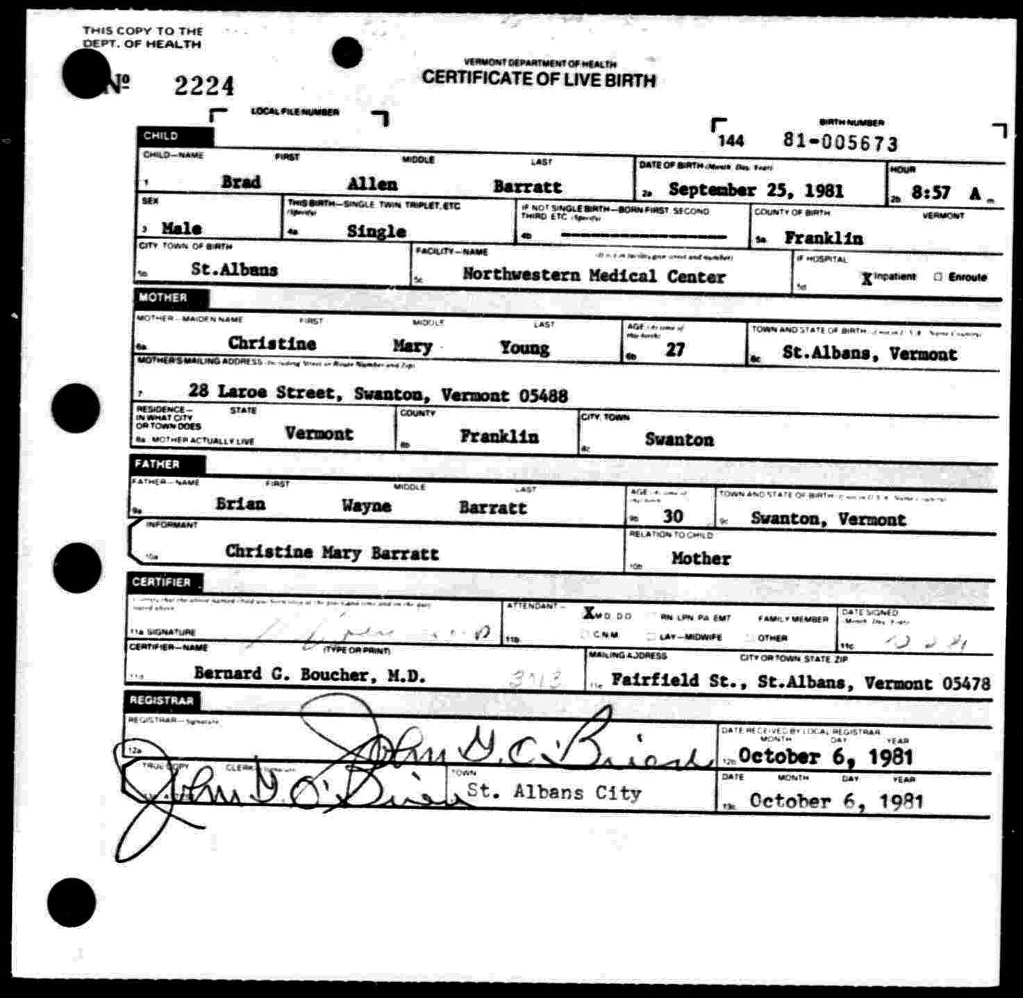 The reinvention of the alleged vermont and new hampshire abenakis birth certificate for brad allen barratt 1betcityfo Choice Image