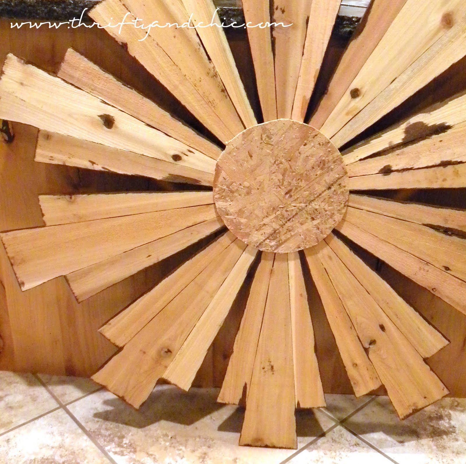 thrifty and chic diy projects and home decor sunburst mirror ballard designs knock off made from cedar planks only for 11