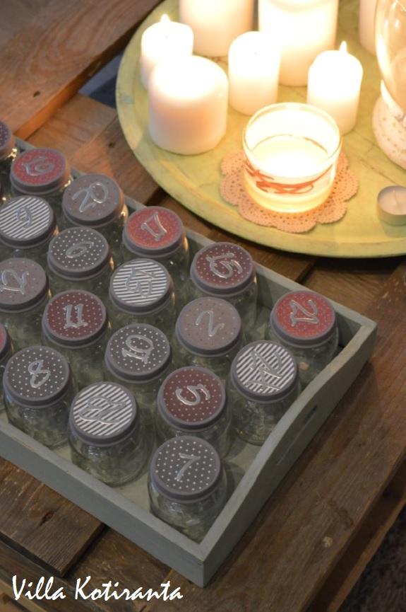 kynttilä joulukalenteri 2018 Villa Kotiranta: DIY: Joulukalenteri lasisista lasten  kynttilä joulukalenteri 2018