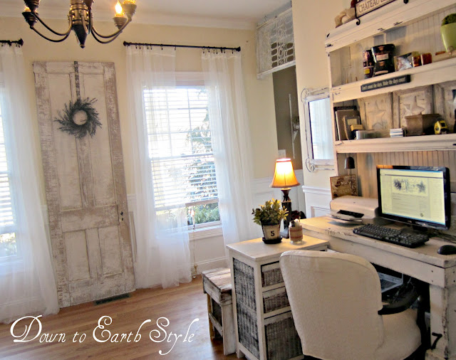 Salvage styled office by Down To Earth Style via I Love That Junk