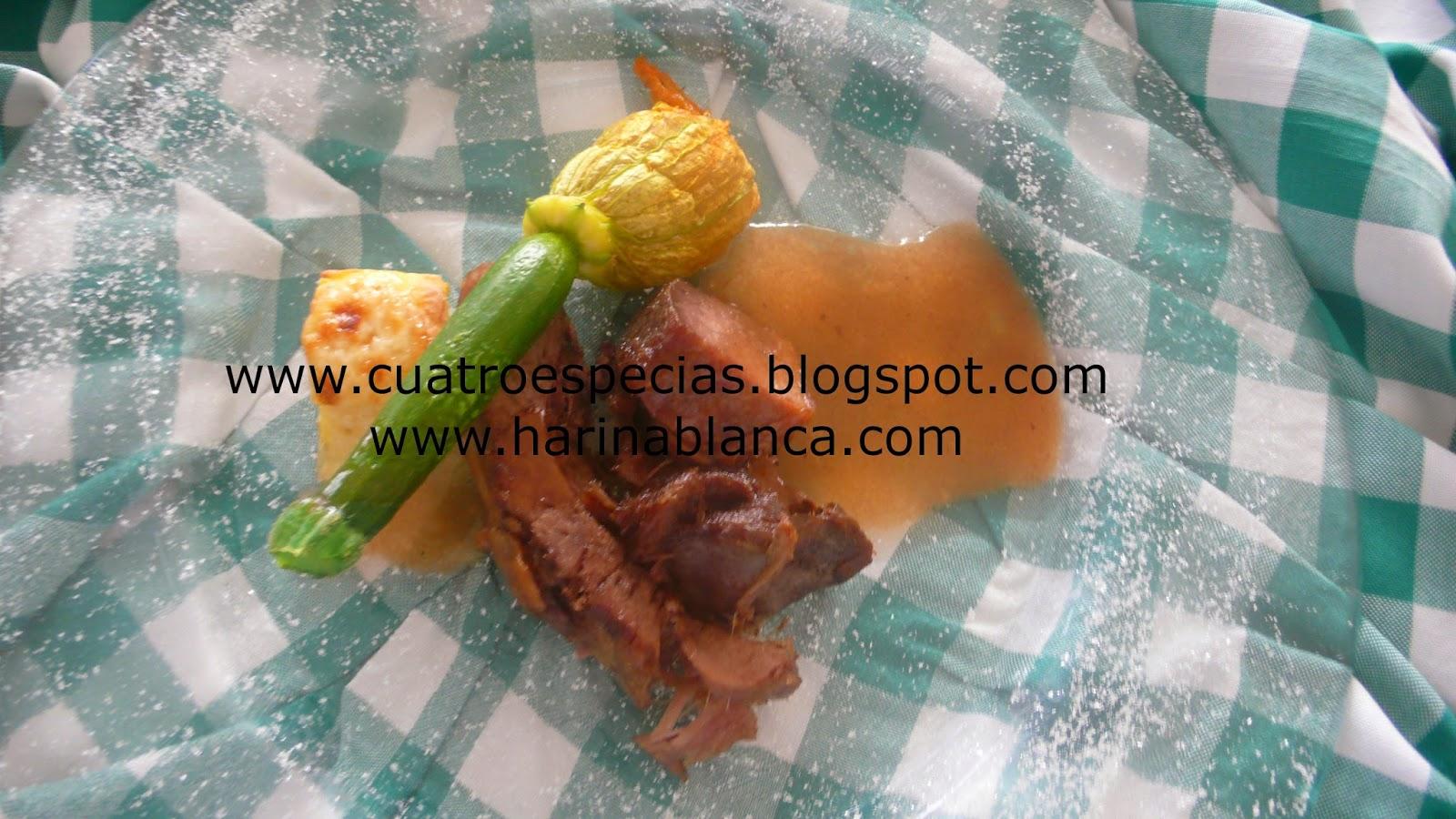 www.cuatroespecias.blogspot.com. jabalí con calabacines al horno