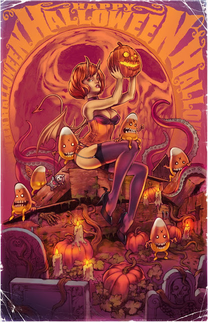 Happy Halloween girl art