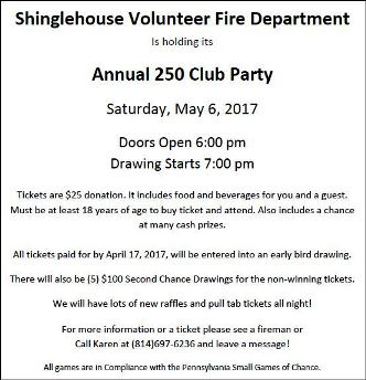 5-6 Shinglehouse VFD Annual 250 Club Party