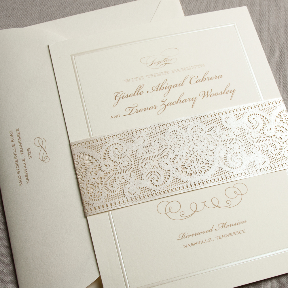Engraved Ecru Scalloped Pearls Invitation Festive And Sophisticated A Touch Of 1920s Glamour Makes This Perfect For The Vintage Inspired Affair