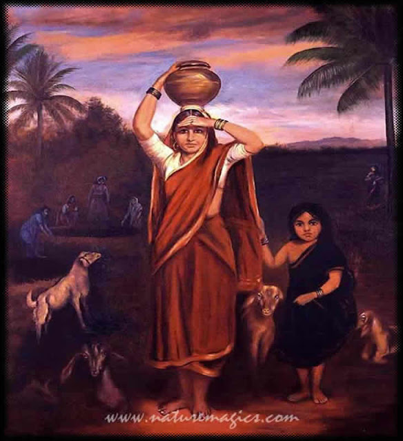 Raja Ravi Varma Paintings: Women with her Daughter & Goats