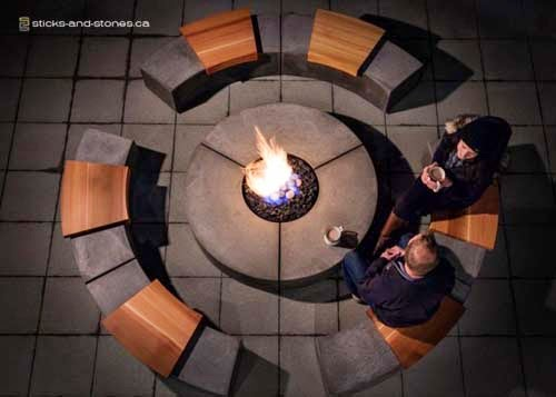 Outdoor furniture unique fireplace from Sticks+Stones