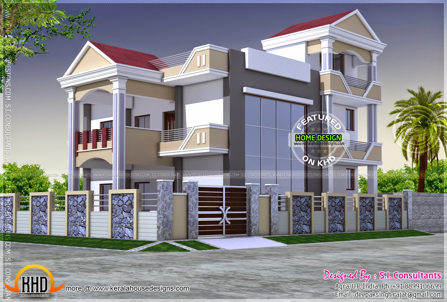 3d view and floor plan kerala home design and floor plans for Home front design indian style