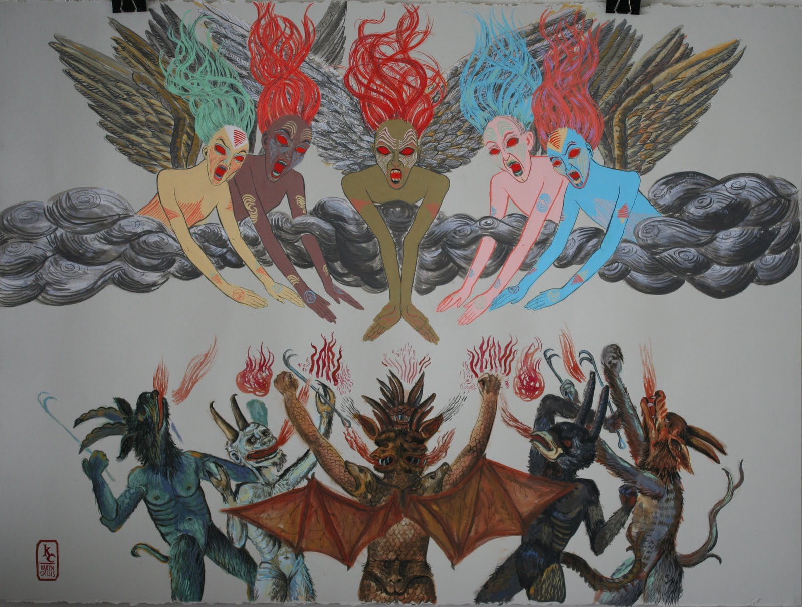 angels vs demons painting angels and demons art angels painting    Angels Demons Painting