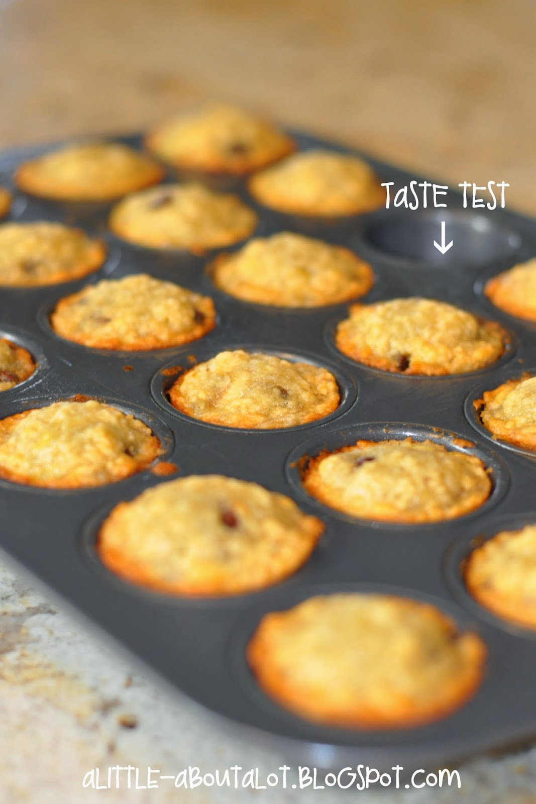 Banana Chocolate Chip Mini Muffins | A little about a Lot