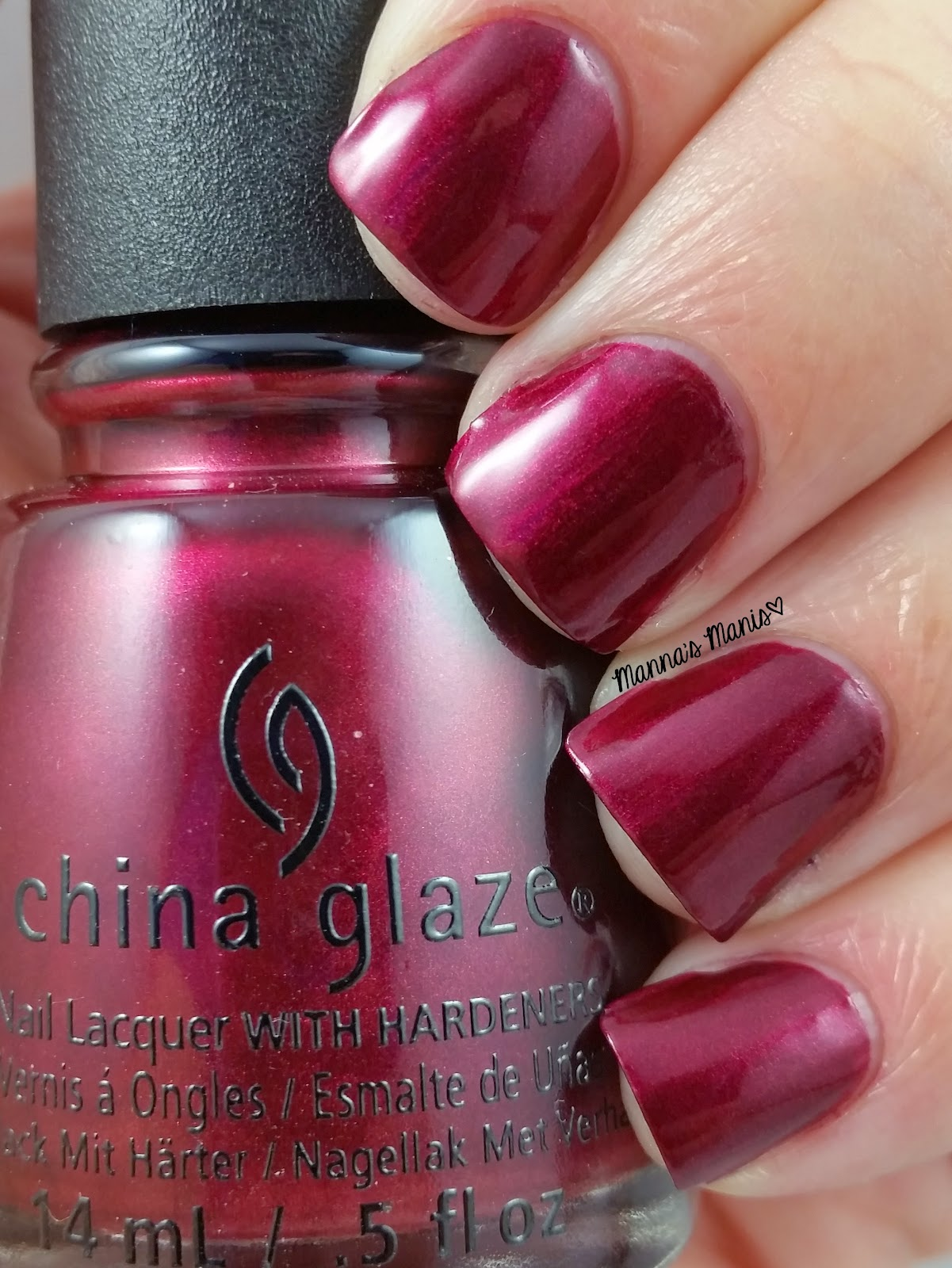 china glaze define good, a cranberry red shimmer nail polish