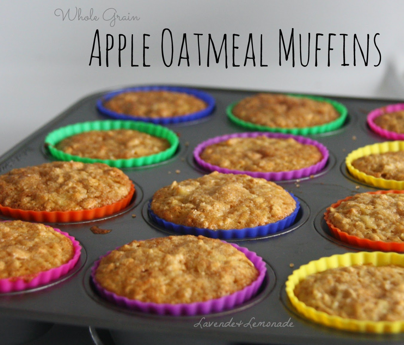 Whole Grain Apple Oatmeal Muffins - Recipe and Tutorial by Lavende&Lemonade