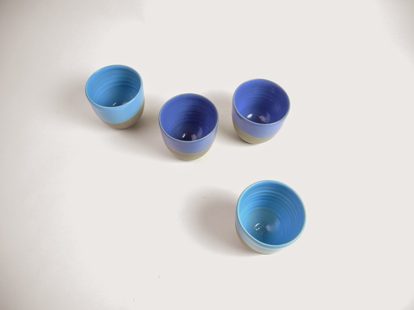 espresso cups without ears in grey stoneware and blue glazes