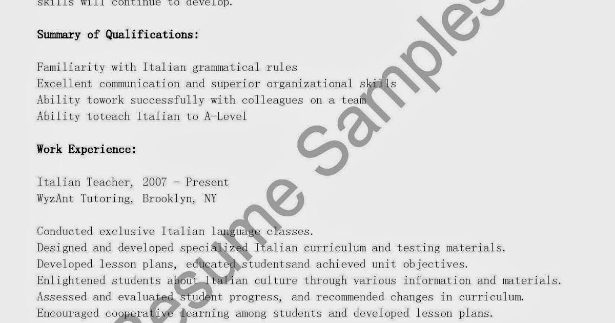 Italian resume