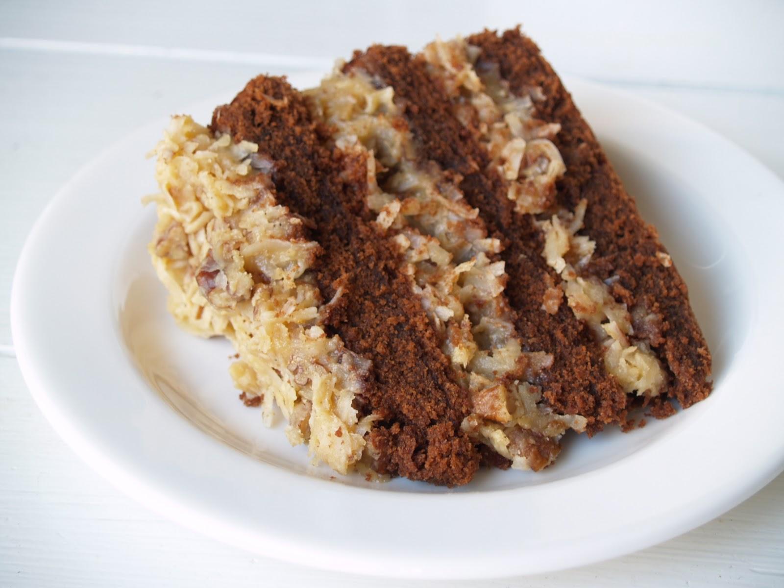 Persimmon and Peach German Chocolate Cake