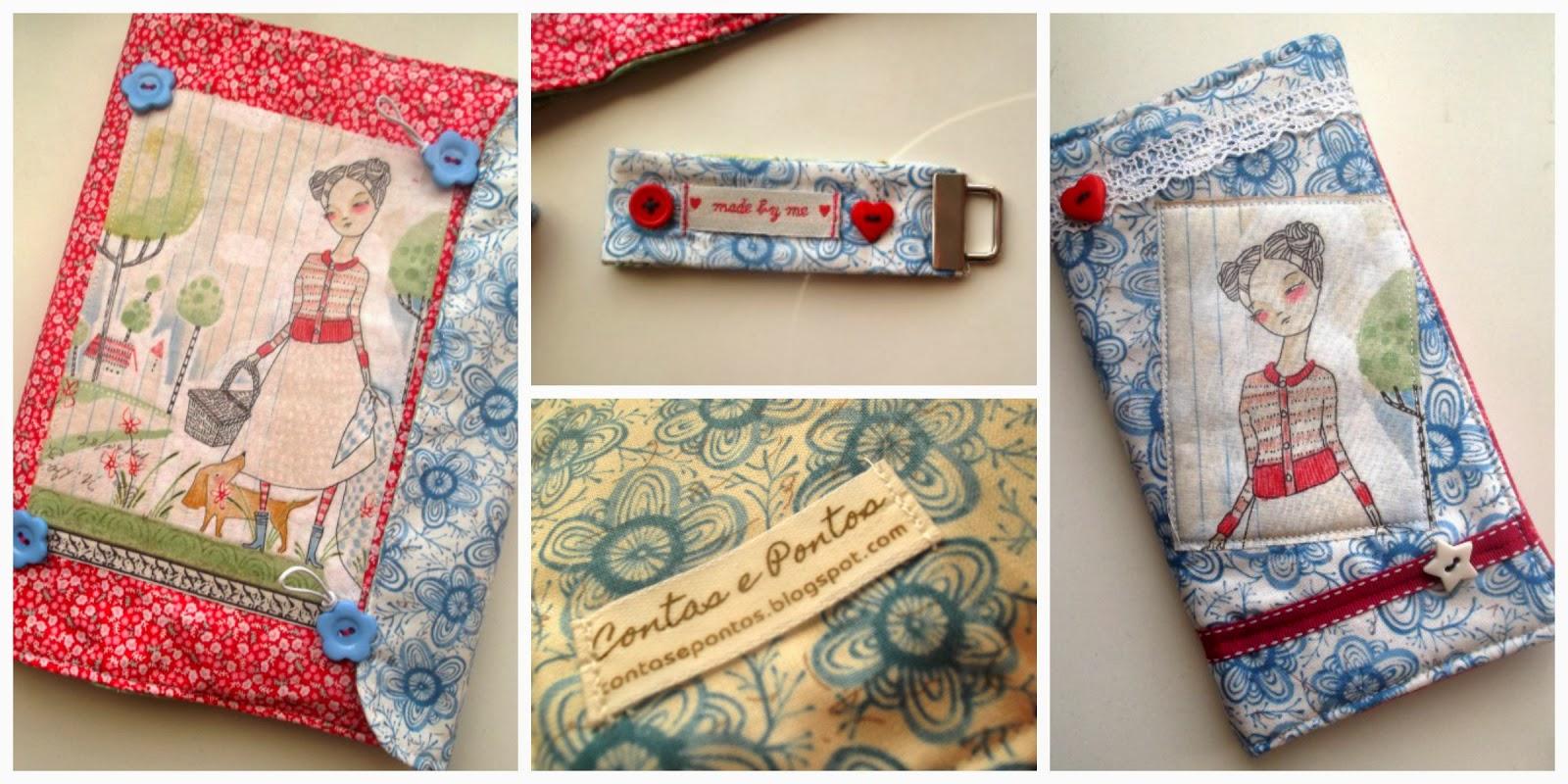 Capa de livro, capa de agenda e porta-chaves em tecido