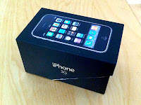iPhone 3G box - nicely sized for use  as a dice tower or dice box