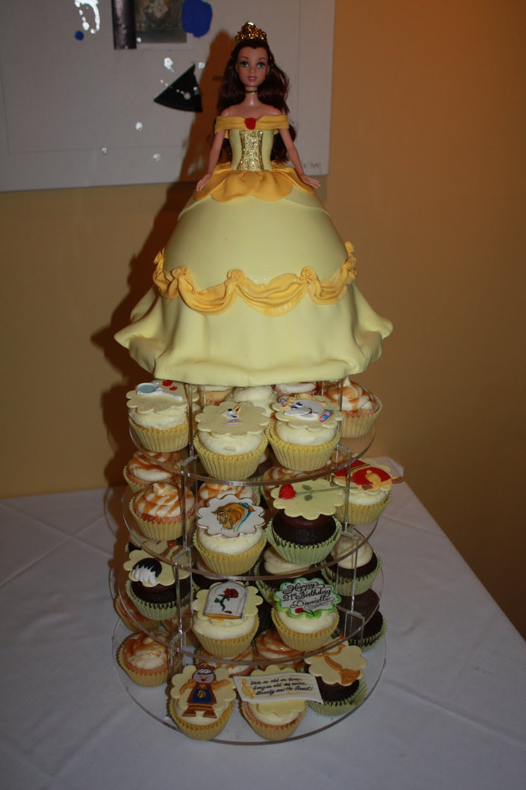 Yummy Mummy Cupcakes Barbie Cake and Beauty and the Beast Cupcakes