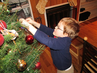 Little Mister hanging an ornament