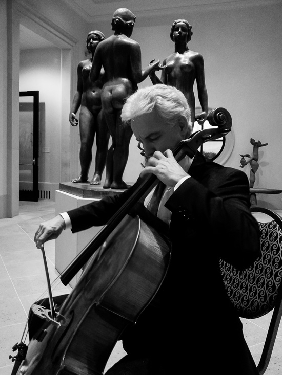 Gyros Quartet cellist Mitch Maxwell warming up at the Meadows Museum