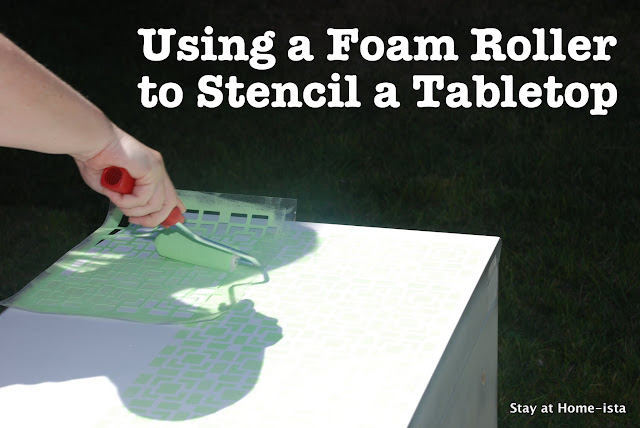 using  foam roller to stencil a tabletop