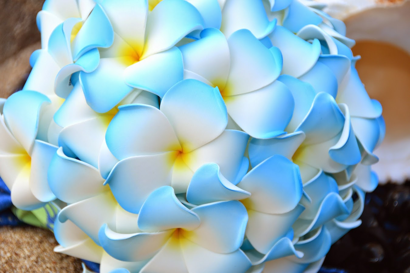 Hawaii Wedding Flowers Blue Plumeria Bouquet