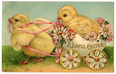 Образ пасхальное яйцо корзину Chicks Vintage Postcard