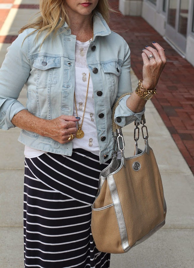 jcrew jean jacket, julie vos coin necklace, tory burch handbag, julie vos coin necklace