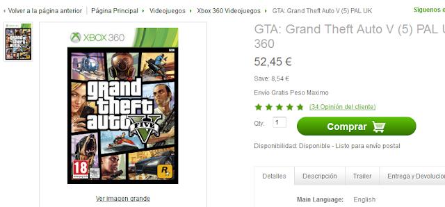Compra GTA V en Zavvi.es por menos de 53€