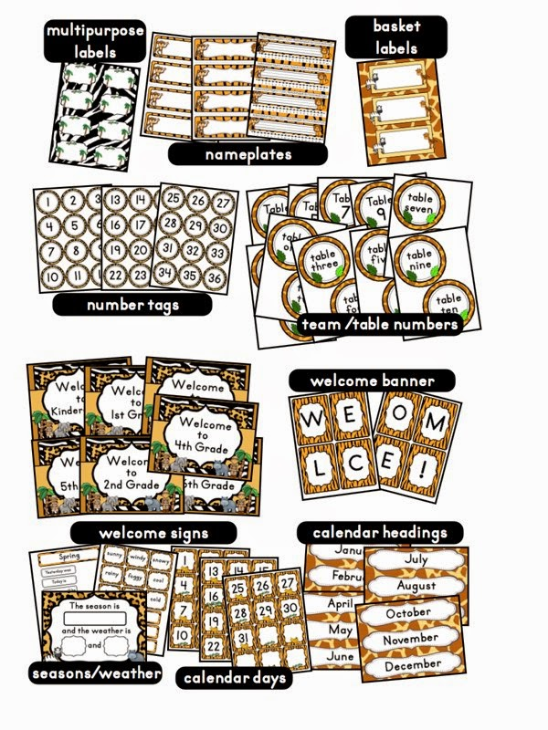 Classroom Ideas Printables ~ Jungle safari classroom theme clutter free