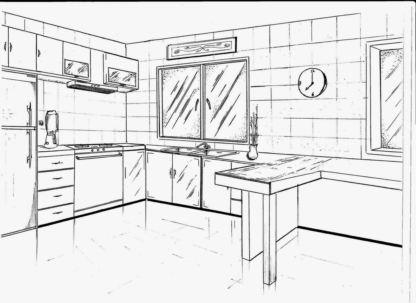 interior design kitchen drawings