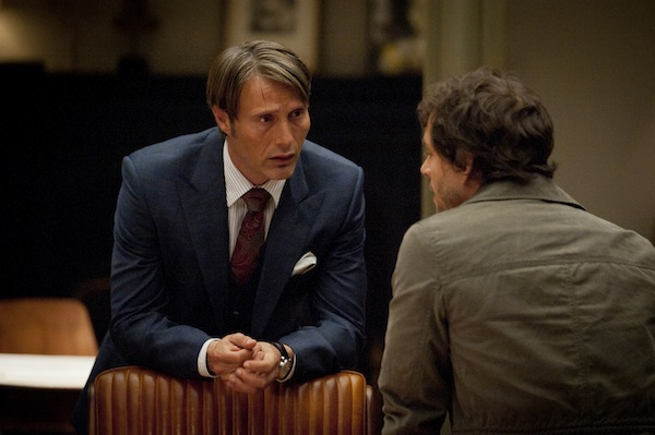 "Hannibal Series 1.Episode 01 ""Amuse Bouche""..Dr Hannibal Lecter (Mads Mikkelsen) and Special Agent Will Graham (Hugh Dancy)"