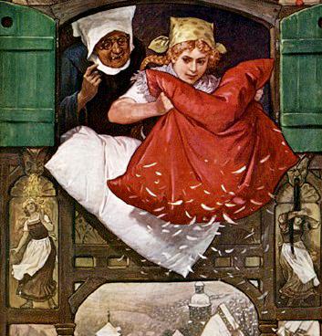 Noia sacsejant un coixí