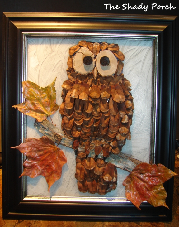 The shady porch framed pine cone owl for Pine cone art projects