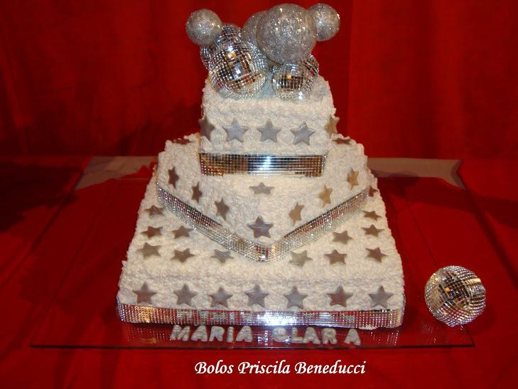 Bolo com Espelho Debutante 15 Anos - Chantilly Bettercream - confeitado manualm - Torta Bolo Gelado