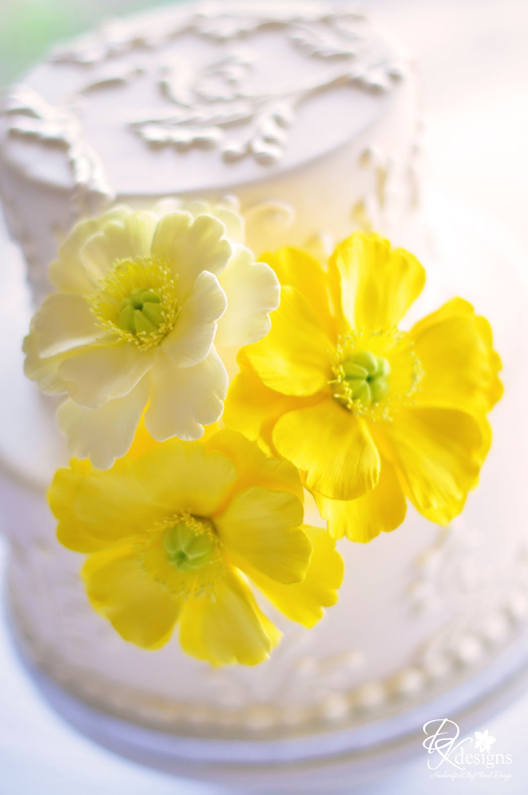 New Poppy Cake Flower Trio In Two Shades Lemon Yellow And Salmon