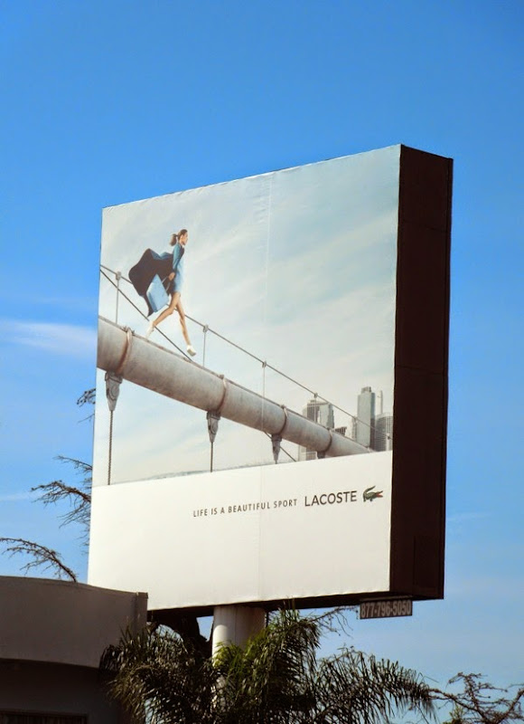 Lacoste Life ia a beautiful sport female model billboard