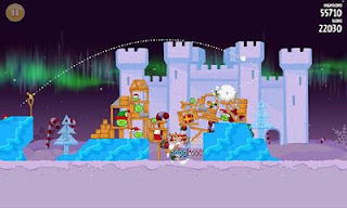 Screenshots of the Angry Birds Seasons: Winter Wonderham for Android tablet, phone.