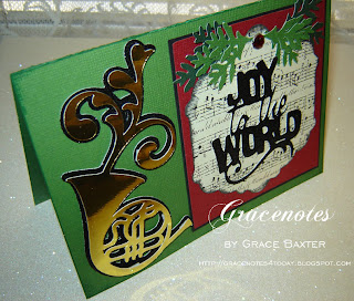 Joy to the World, music Christmas card front
