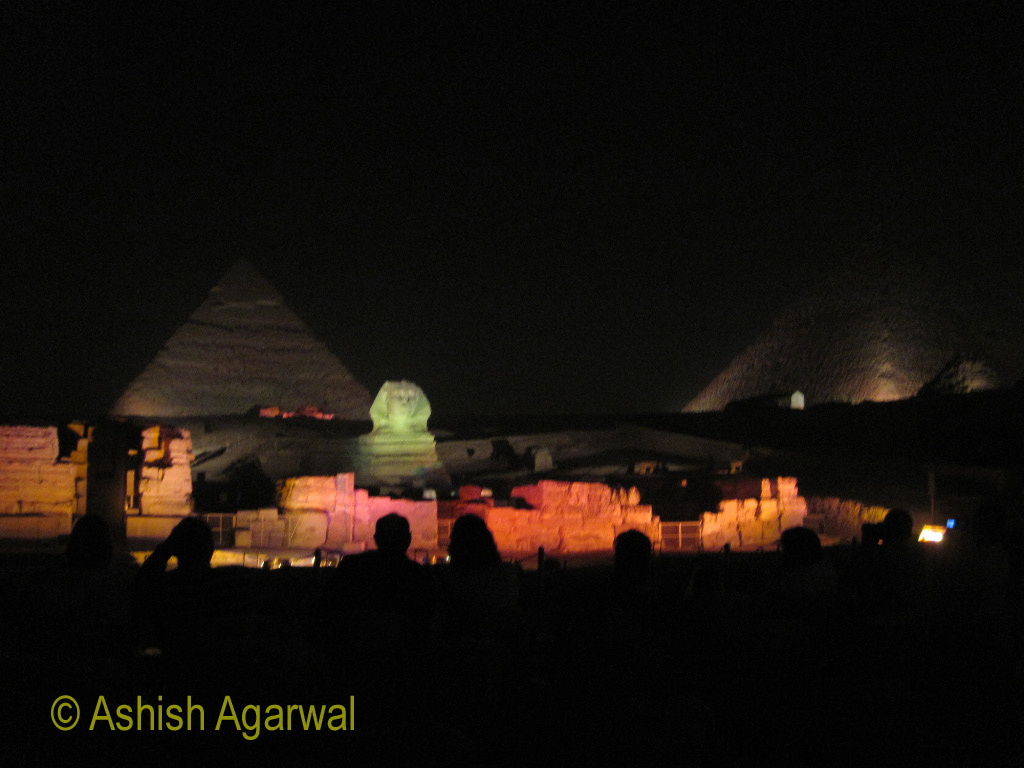 View of The Great Sphinx and Great Pyramid - Sound and Light show