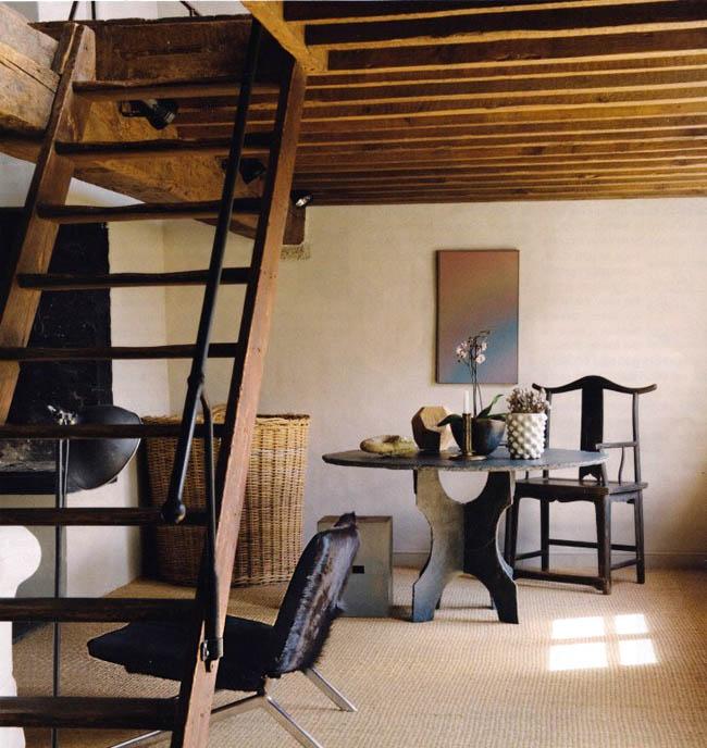interior rustico minimalista en bélgica mesa y sill china negra