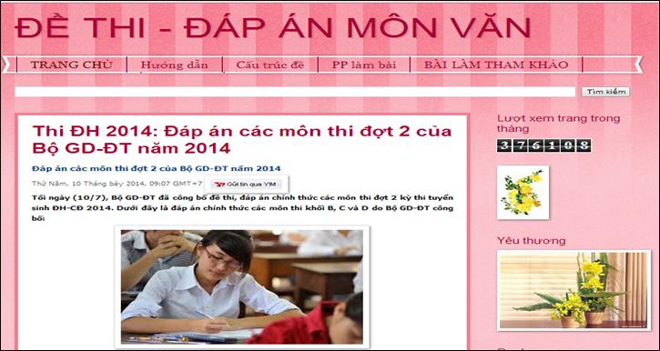 Blog Đề thi đáp án Môn Văn