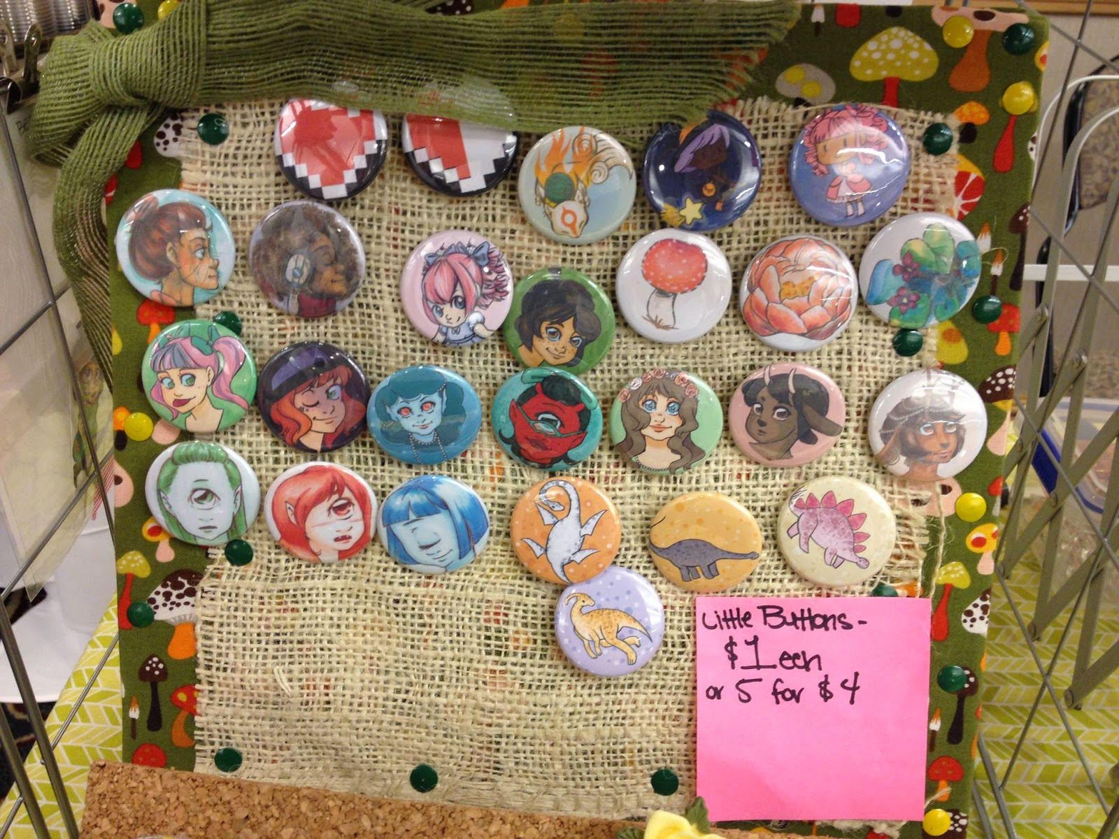 buttons, pins, pin display, button display, anime con, Anime Blast Chattanooga
