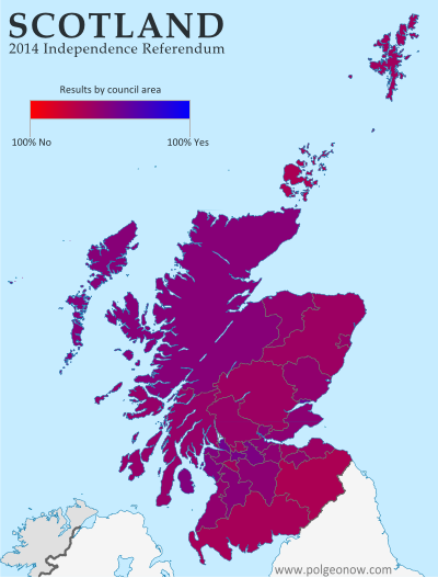 Map of results in Scotland's September 18, 2014 independence referendum. Voters were polled on whether or not to separate from the UK. Map shows relative proportion of yes and no votes for each of Scotland's council areas, using a gradient rather than contrasting colors for small differences.